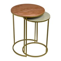 Pols Potten Enamel Side Table Set Of 2 Pink Beige