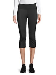 Andrew Marc New York Mixed Media Cropped Leggings Black
