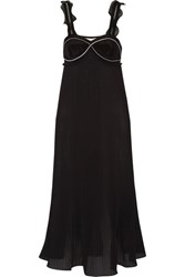 3.1 Phillip Lim Zip Embellished Pleated Georgette Dress Black