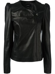 Isabel Marant Structured Shoulder Leather Jacket Black