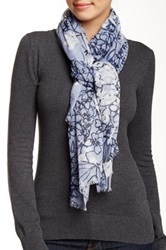 14Th And Union Tropical Floral Infinity Scarf Blue