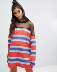 The Ragged Priest Tee Dress In Stripe With Mesh Panel Red