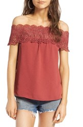Wayf Women's Lace Off The Shoulder Top Ginger