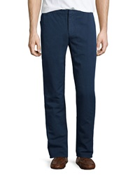 Orlebar Brown Flat Front Linen Blend Trousers Navy