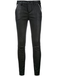 Rta Snakeskin Effect Leather Trousers Black