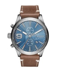 Diesel Advanced Rasp Chrono Stainless Steel And Leather Strap Watch No Color