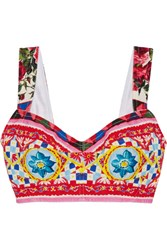 Dolce And Gabbana Printed Cotton Blend Crepe Bra Top Pink