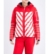 Perfect Moment Amak Quilted Shell Ski Jacket Red Snow White Stripe