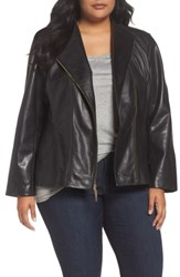Ellen Tracy Plus Size Women's Asymmetrical Zip Leather Jacket Black