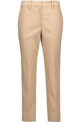 Helmut Lang Cropped Wool Blend Straight Leg Pants Beige