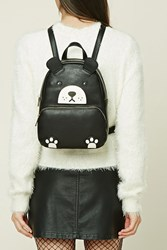 Forever 21 Bear Faux Leather Mini Backpack Black White