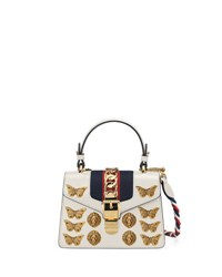 Gucci Sylvie Small Top Handle Satchel Bag With Animal Embellishments White