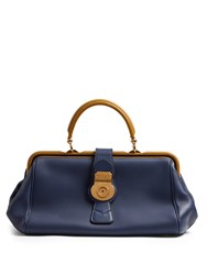Burberry Trench Bi Colour Textured Leather Bowling Bag Navy
