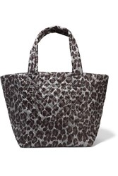 M Z Wallace Mz Metro Medium Leopard Print Quilted Ripstop Tote Black