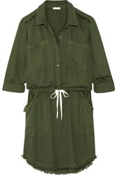 Splendid Frayed Washed Crepe De Chine Dress Army Green