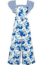 Temperley London Marybell Ruffled Printed Stretch Cotton Jumpsuit Blue