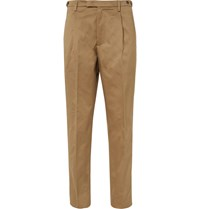 Barena Navy Masco Tapered Pleated Cotton Twill Trousers Neutrals
