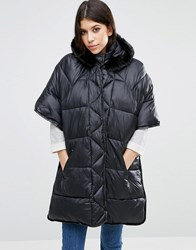Asos Quilted Cape With Faux Fur Hood Black