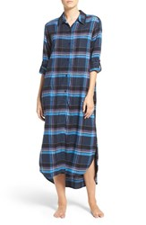Dkny Women's Flannel Plaid Maxi Sleepshirt Peacoat Heather Plaid