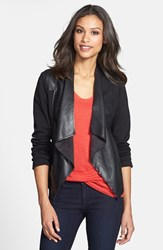 Women's Kut From The Kloth 'Lincoln' Faux Leather Drape Front Jacket Black