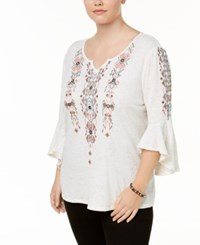 Style And Co Plus Size Embroidered Embellished Angel Sleeve Top Created For Macy's Ivory