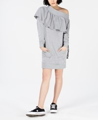 Nicopanda Off The Shoulder Sweatshirt Dress Heather Grey