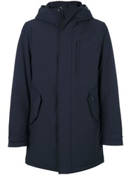 Woolrich Hooded Padded Coat Feather Down Polyamide Polyester Spandex Elastane M Blue