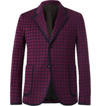 Gucci Burgundy Marco Slim Fit Contrast Tipped Houndstooth Woven Suit Jacket Red