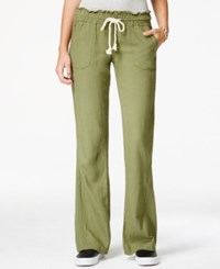 Roxy Juniors' Oceanside Wide Leg Drawstring Pants Dark Green