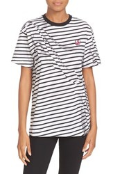 Mcq By Alexander Mcqueen Women's 'Swallow Classic' Stripe Cotton Tee