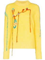 Mira Mikati Embroidered Ribbed Jumper Yellow