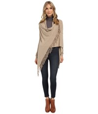 Christin Michaels Evelyn Fringed Wrap Cardigan Taupe Women's Sweater