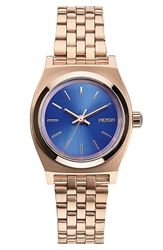 Nixon 'The Small Time Teller' Bracelet Watch 26Mm Rose Gold Cobalt