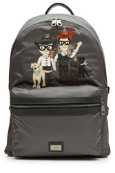 Dolce And Gabbana Fabric Backpack With Leather Grey