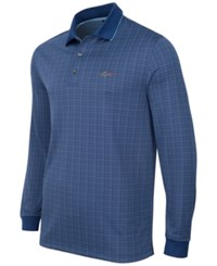 Greg Norman For Tasso Elba Men's Long Sleeve Dotted Grid Polo Only At Macy's Blue Socket
