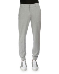 Berluti Banded Cuff Cotton Silk Jogger Pants Gray
