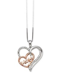Macy's Diamond Mom Pendant Necklace 1 10 Ct. T.W. In Sterling Silver And 14K Rose Gold Two Tone