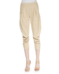 Donna Karan Washed Canvas Pleated Capri Pants Parchment
