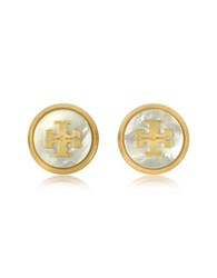Tory Burch Mother Of Pearl And Vintage Goldtone Brass Stud Earrings White