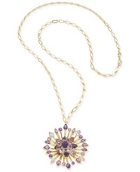 Carolee Gold Tone And Purple Stone Flower District Long Pendant Necklace