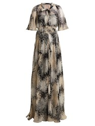 N 21 Chrysanthemum Print Silk Chiffon Maxi Dress Black Multi