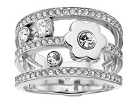 Michael Kors In Full Bloom Floral And Crystal Accent Stacked Ring Silver Ring