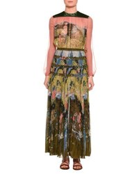 Valentino Garden Of Delight Printed Long Sleeve Gown Multi Multi Pattern