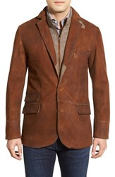 Men's Flynt Classic Fit Distressed Leather Hybrid Coat