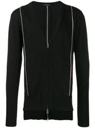 Unconditional Zipped Cardigan With Metallic Detail Black