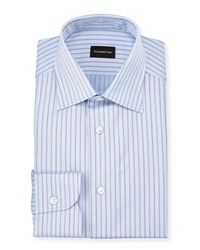 Ermenegildo Zegna Striped Twill Long Sleeve Dress Shirt Light Blue