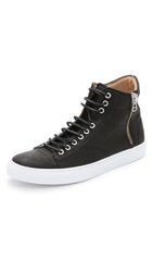 Wings Horns Leather High Top Sneakers Black Black White