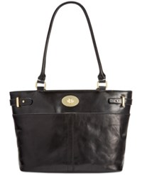 Giani Bernini Glazed Turnlock Tote Only At Macy's Black