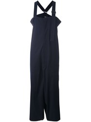 Y's Wide Leg Overalls Blue