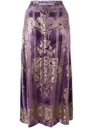 Roberto Cavalli Baroque Style Long Skirt Pink Purple